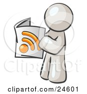 Clipart Illustration Of A White Man Standing And Reading An RSS Magazine by Leo Blanchette
