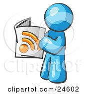 Clipart Illustration Of A Light Blue Man Standing And Reading An RSS Magazine