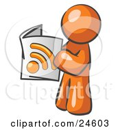 Clipart Illustration Of An Orange Man Standing And Reading An RSS Magazine by Leo Blanchette