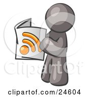 Clipart Illustration Of A Gray Man Standing And Reading An RSS Magazine