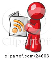 Clipart Illustration Of A Red Man Standing And Reading An RSS Magazine