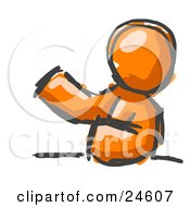 Clipart Illustration Of A Painted Orange Man Leaning An Elbow On A Table And Gesturing With One Hand During A Meeting