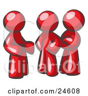 Clipart Illustration Of A Group Of Three Red Men Talking At The Office