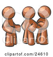 Clipart Illustration Of A Group Of Three Brown Men Talking At The Office