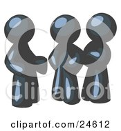 Clipart Illustration Of A Group Of Three Navy Blue Men Talking At The Office