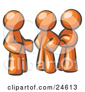 Clipart Illustration Of A Group Of Three Orange Men Talking At The Office