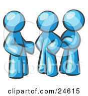 Clipart Illustration Of A Group Of Three Light Blue Men Talking At The Office