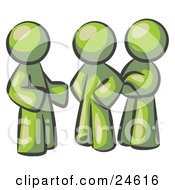 Clipart Illustration Of A Group Of Three Olive Green Men Talking At The Office