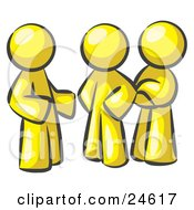 Clipart Illustration Of A Group Of Three Yellow Men Talking At The Office