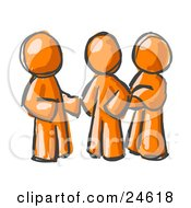 Clipart Illustration Of A Group Of Three Painted Orange Men Talking At The Office