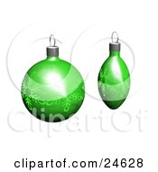 Clipart Illustration Of Two Green Christmas Tree Ornaments With Snowflake Patterns Over White
