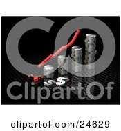 Clipart Illustration Of A Red Decrease Arrow Above A Bar Graph Made Of Chrome Dolalr Signs Crashing At The Bottom Over Black