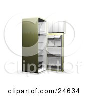 Clipart Illustration Of A Green Refrigerator With Open Doors Showing An Empty Freezer And Cooling Section