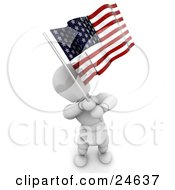 White Character Standing And Waving An American Flag On Independence Day