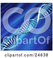 Silver Dna Double Helix Strand Spanning Diagonally Over A Blurred Blue Background
