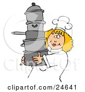 Happy Blond Chef Woman In A White Hat And Uniform Carrying A Large Stack Of Pots