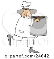 Happy Female Chef In A White Uniform And Hat Prancing Across The Kitchen With A Large Pot Of Beans