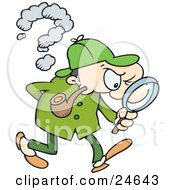 Clipart Illustration Of Sherlock Holmes A Caucasian Man In A Green Hat Coat And Pants Smoking A Pipe And Peering Through A Magnifying Glass While Searching For Evidence