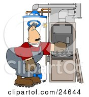 Clipart Illustration Of A Worker Man Bending Over And Repairing Wires In An Hvac System by Dennis Cox