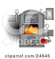 Clipart Illustration Of Hot Flames Burning Inside An Open Boiler With Valves On The Pipes