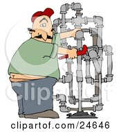 Clipart Illustration Of A Surprised Male Plumber Turning With A Shocked Expression Caught With His But Crack Showing While Fitting Pipes