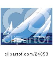 Clipart Illustration Of Four Racing Sailboats Out At Sea Wind Blowing The Sails And Making The Boats Lean by Eugene