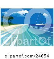 Clipart Illustration Of A Yacht Out On Calm Blue Water Close To The Beach Of A Tropical Island