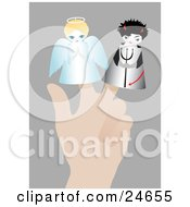 Clipart Illustration Of A Persons Hand With Two Little Puppets On The Fingers An Angel With A Halo And A Devil With A Pitchfork Symbolizing Conscience by Eugene