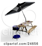 Clipart Illustration Of A Blue Bbq Picnic Table With Eating Utensils Cups And Plates Under An Umbrella by KJ Pargeter