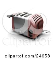 Clipart Illustration Of A Pink And Silver Three Slot Toaster On A Kitchen Counter