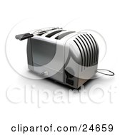 Clipart Illustration Of A Silver Toaster With Three Slots On A Kitchen Counter