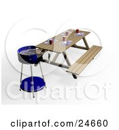 Set Picnic Table In A Park By A Blue Bbq Grill