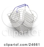 Clipart Illustration Of An Empty Wire Shopping Basket With Blue Handles Over A White Surface