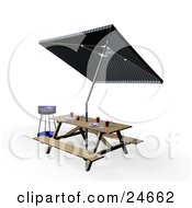 Clipart Illustration Of A Blue BBQ Grill By A Picnic Table Set With Eating Utensils Cups And Plates Under An Umbrella