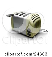 Clipart Illustration Of A Green And Silver Three Slot Toaster On A Kitchen Counter