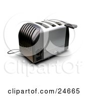Clipart Illustration Of A Black And Silver Three Slot Toaster On A Kitchen Counter