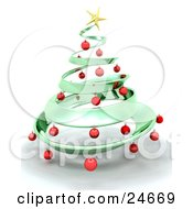 Metallic Green Metal Christmas Tree Decorated In Red Ornaments And A Golden Star Over White