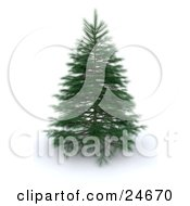 Clipart Illustration Of A Realistic Green 3d Pine Tree With Delicate Branches Over White