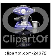 Clipart Illustration Of A Dark Blue Espresso Machine Making A Cappuccino On A Black Kitchen Counter