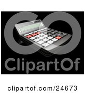 Black Red And Gray Calculator With A Curved Display On A Black Reflective Surface