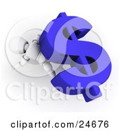 Clipart Illustration Of A White Character Lying Squished Under A Large Blue Dollar Sign Symbol