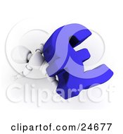 Clipart Illustration Of A White Character Lying Squished Under A Large Blue Pound Sterling Symbol