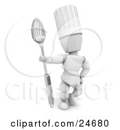 Clipart Illustration Of A White Character In A Chefs Hat Standing And Holding A Large Slotted Spoon