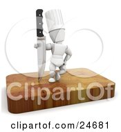 Clipart Illustration Of A White Character In A Chefs Hat Standing With A Sharp Knife On A Wooden Cutting Board by KJ Pargeter