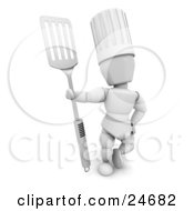 Clipart Illustration Of A White Character In A Chefs Hat Standing And Holding A Silver Spatula