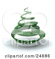 Clipart Illustration Of A Green Glass Spiral Christmas Tree With Silver Ornaments