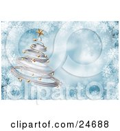 Clipart Illustration Of A Silver Spiral Christmas Tree With Gold Ornaments And A Star Over A Blue And White Snowflake Background