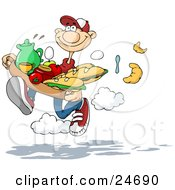 Clipart Illustration Of A Sweet Caucasian Man Running And Dropping Silverware Croissants And Eggs While Rushing To Deliver A Tray Of Sandwiches Fruit And Drinks To His Girlfriend In Bed by Holger Bogen #COLLC24690-0045