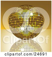 Sparkling Golden Disco Ball Suspended Over A Reflective Surface