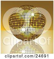 Sparkling Golden Disco Ball Suspended Over A Reflective Surface